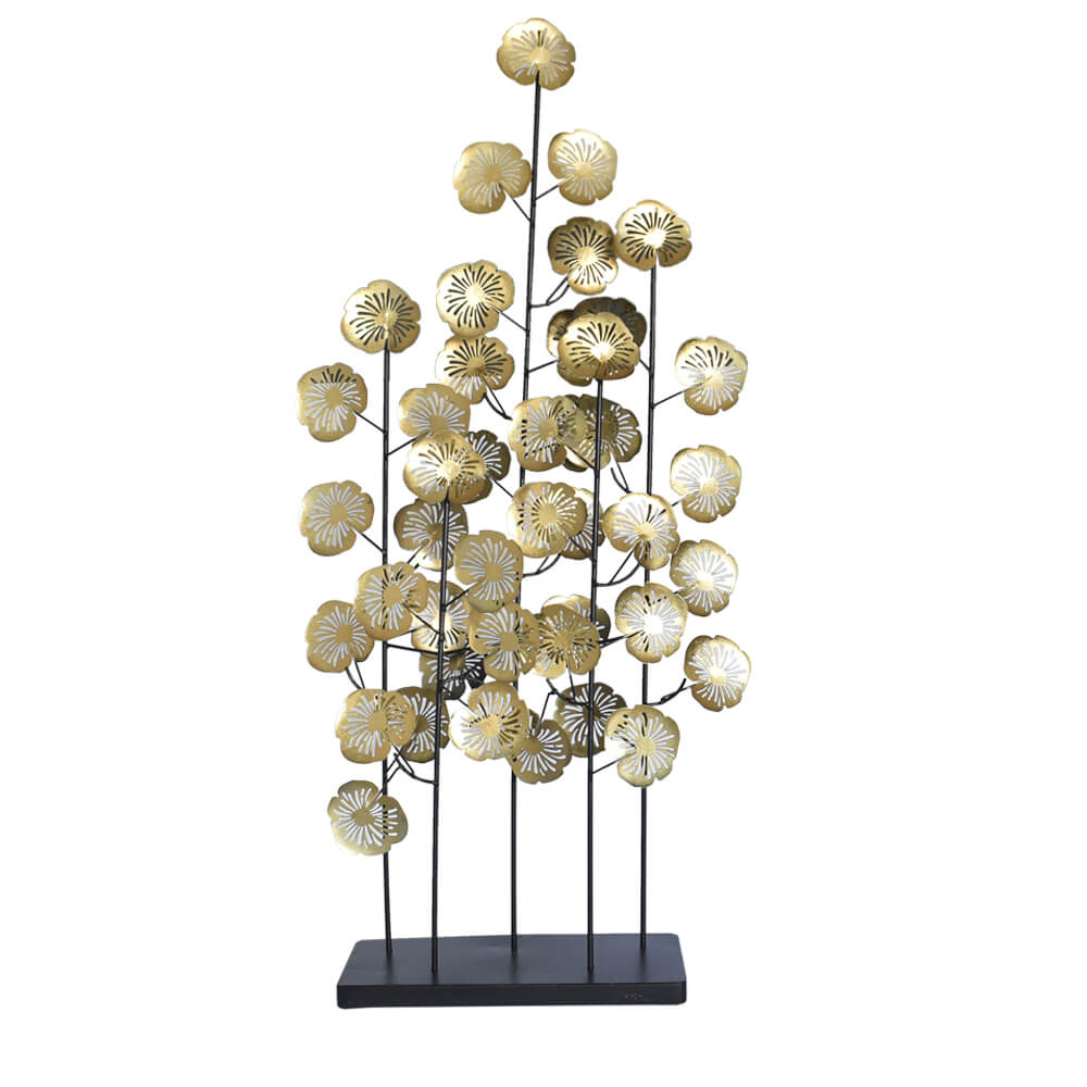 Estatueta Folhas Douradas de Metal Spinosa 93 Cm