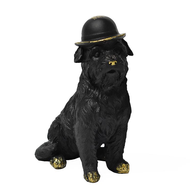 Estatueta Preta Cachorro Sentado 14,5 Cm