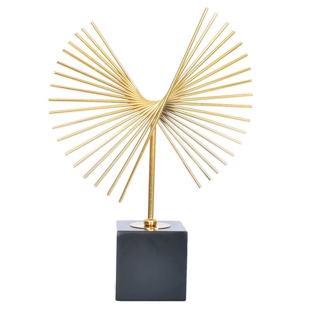 Estatueta Preta e Dourada Mistic Flower G 42 Cm