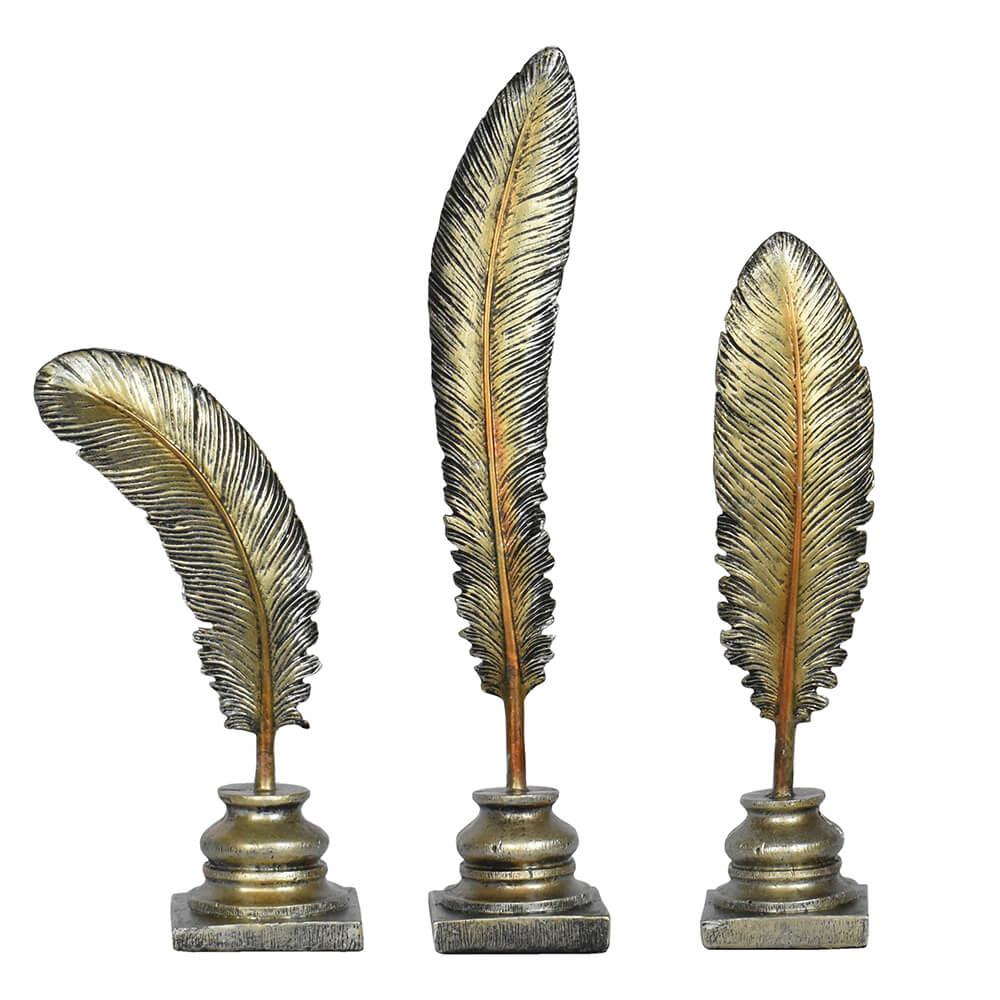 Estatuetas Conjunto 3 Penas Marrons 56 Cm