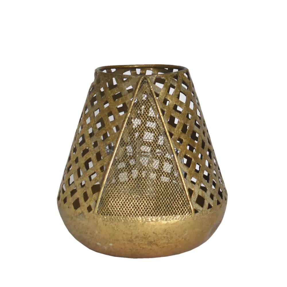Lanterna Dourada de Metal Crozzi 17,5 Cm