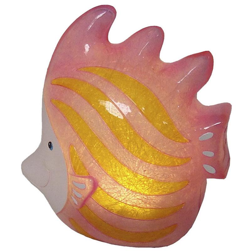Luminária Infantil Led Peixe Rosa 19,5 Cm