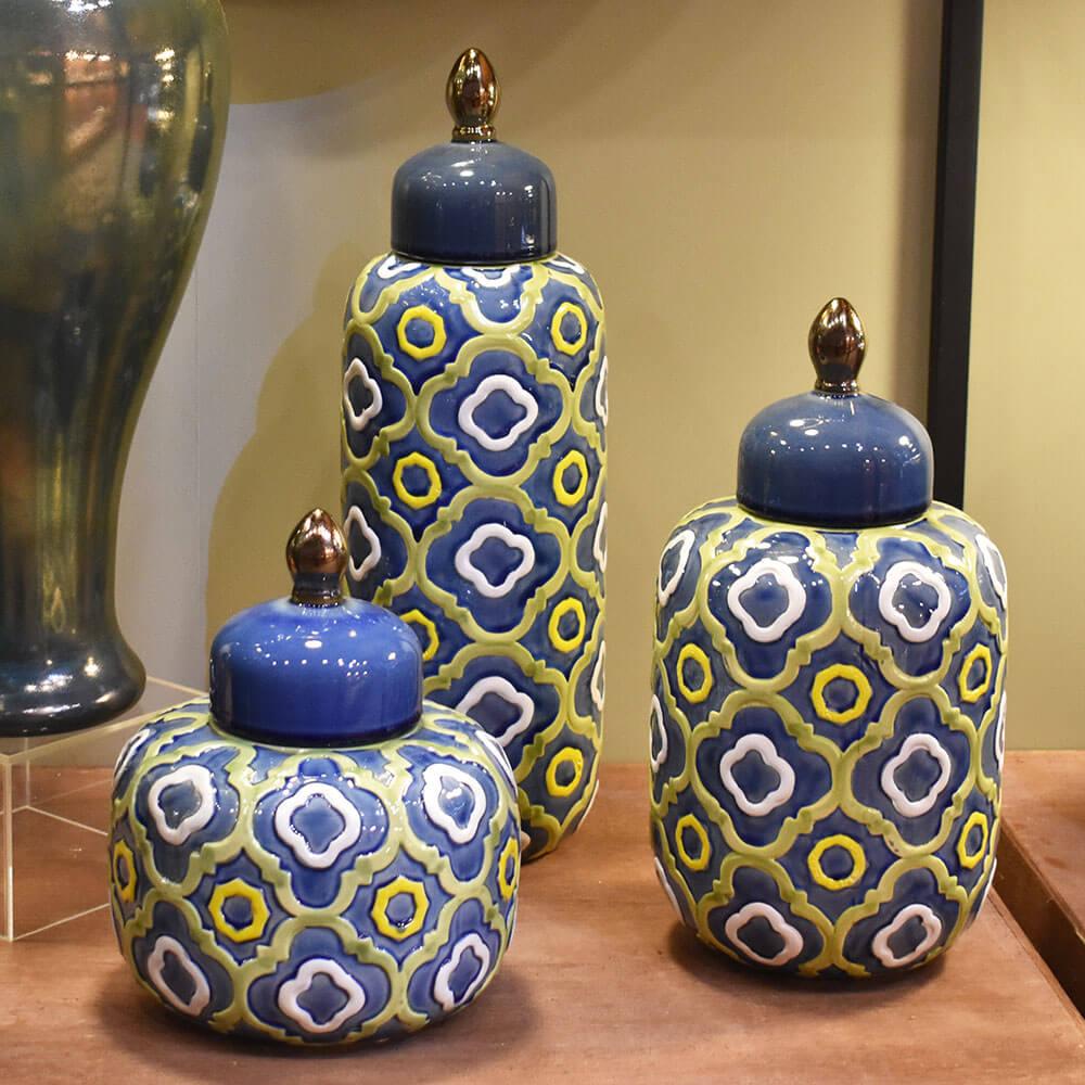 Potiche Azul e Verde Azulato GG 44 Cm