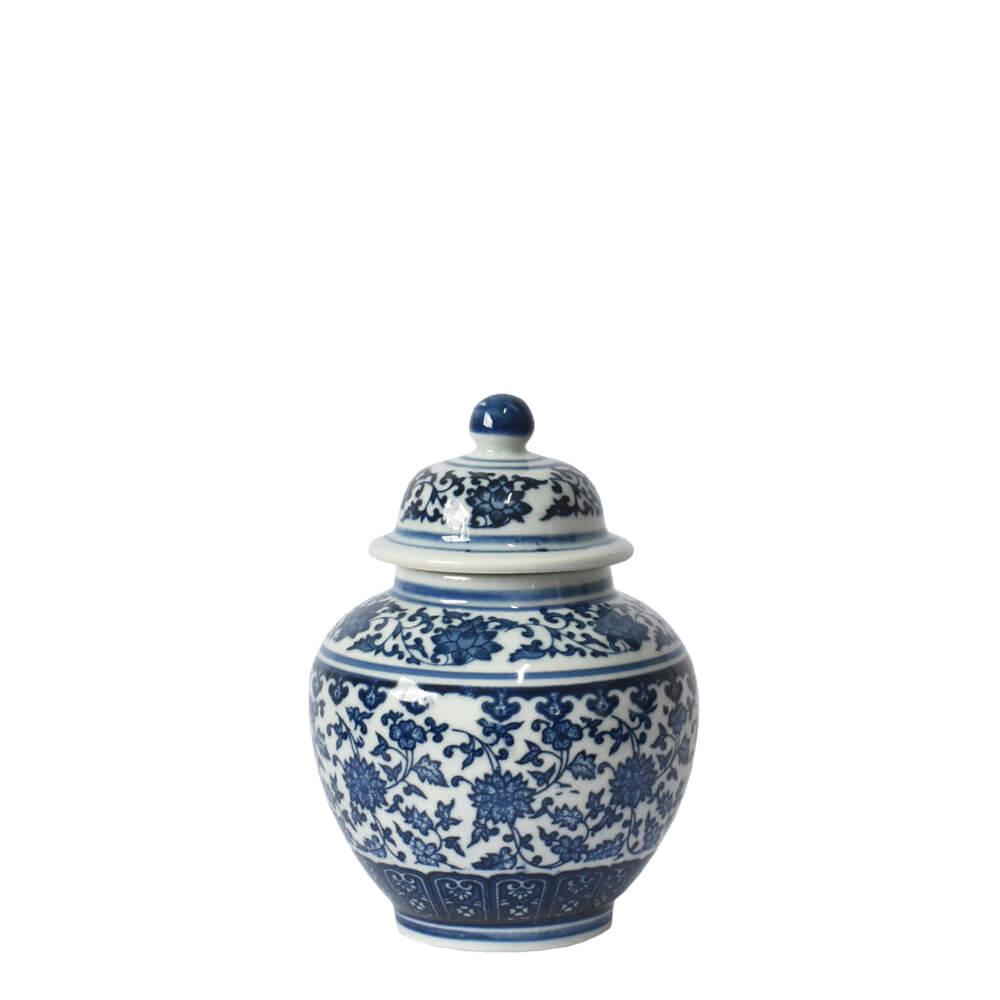 Potiche Branco e Azul Porcelana Ming Beihai D 18 Cm
