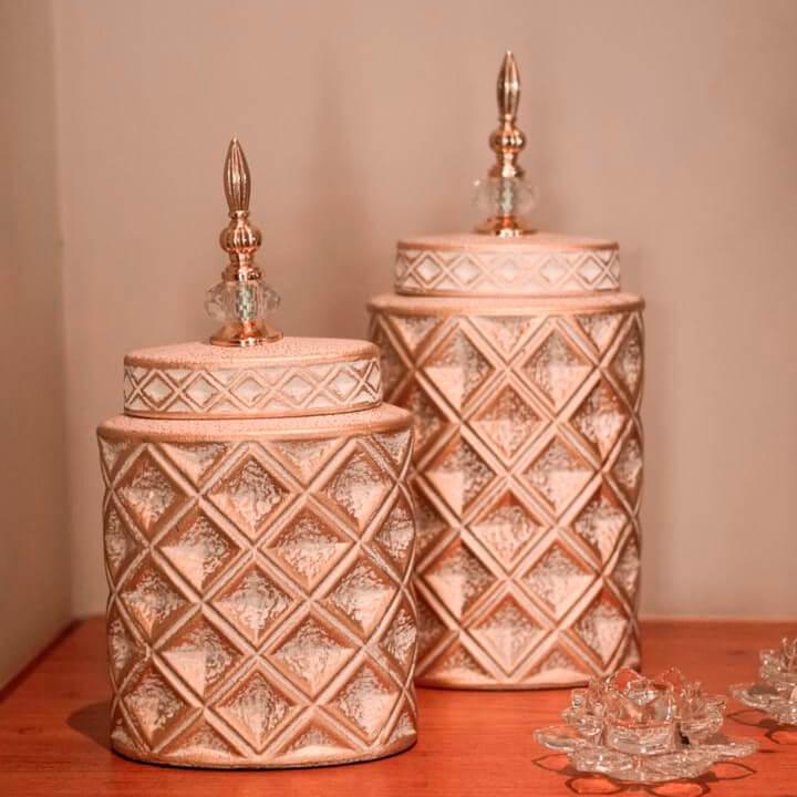 Potiche Branco e Dourado Luxor G 39 Cm
