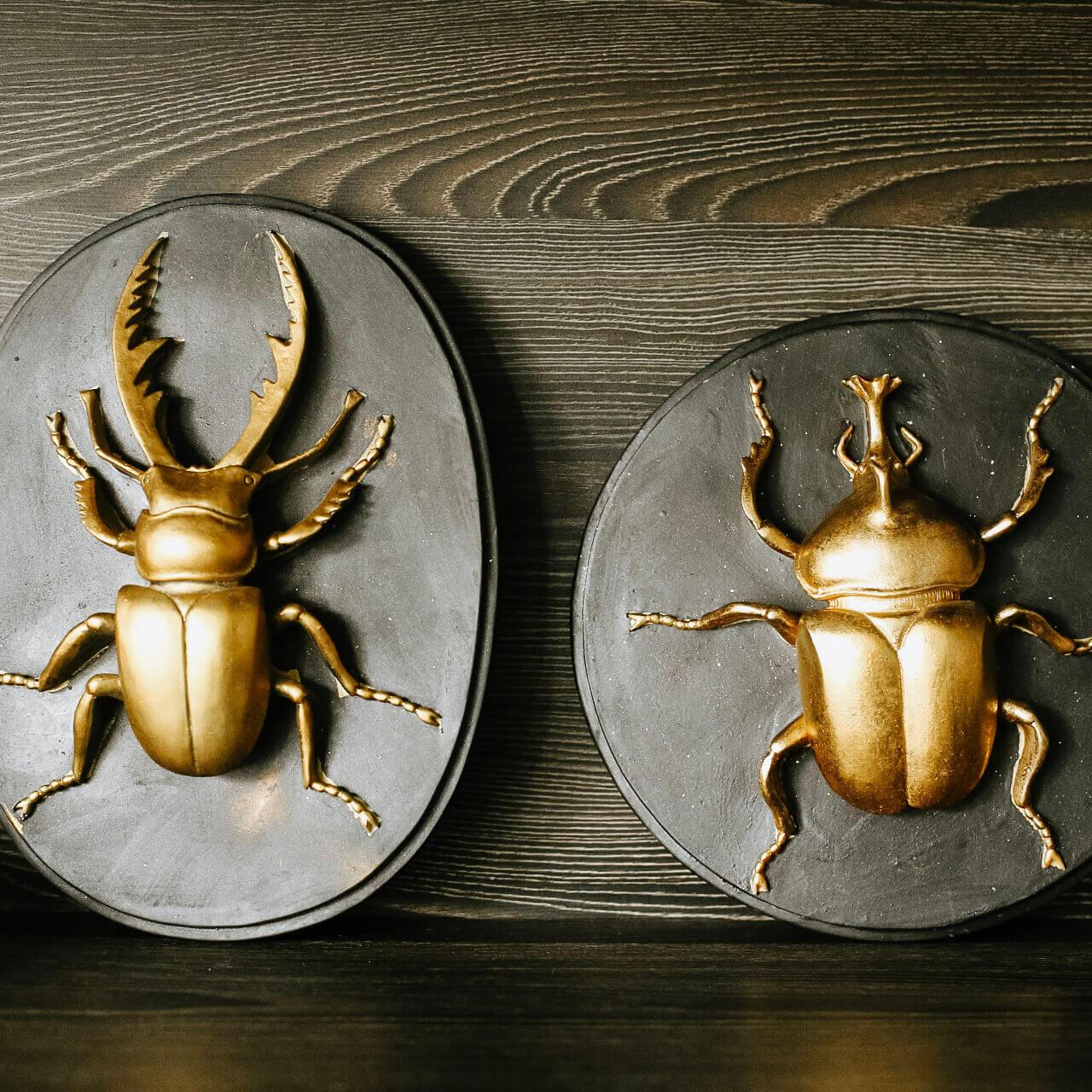 Quadro Besouro Preto e Dourado 24,5 Cm