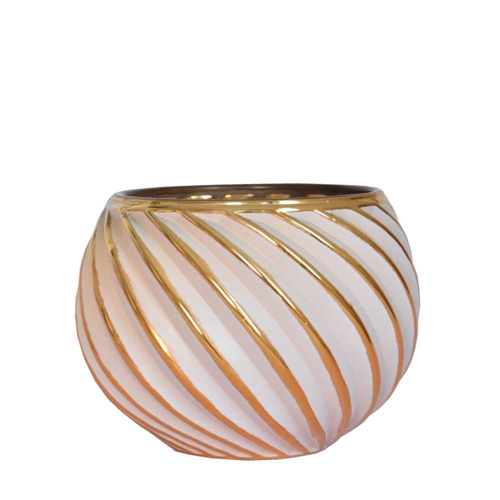 Vasinho Branco e Dourado Lumen Helic 10 Cm