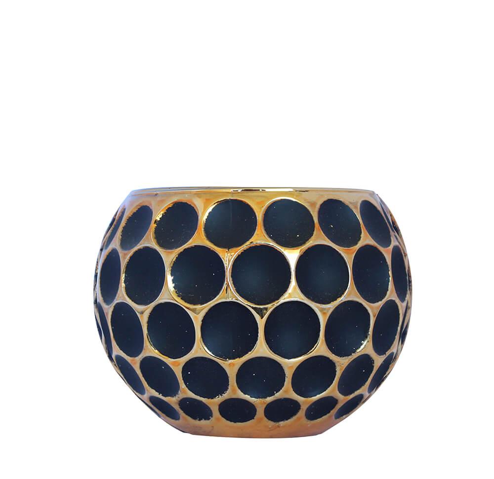 Vasinho Dourado e Preto Lumen Lux Niger 12 Cm