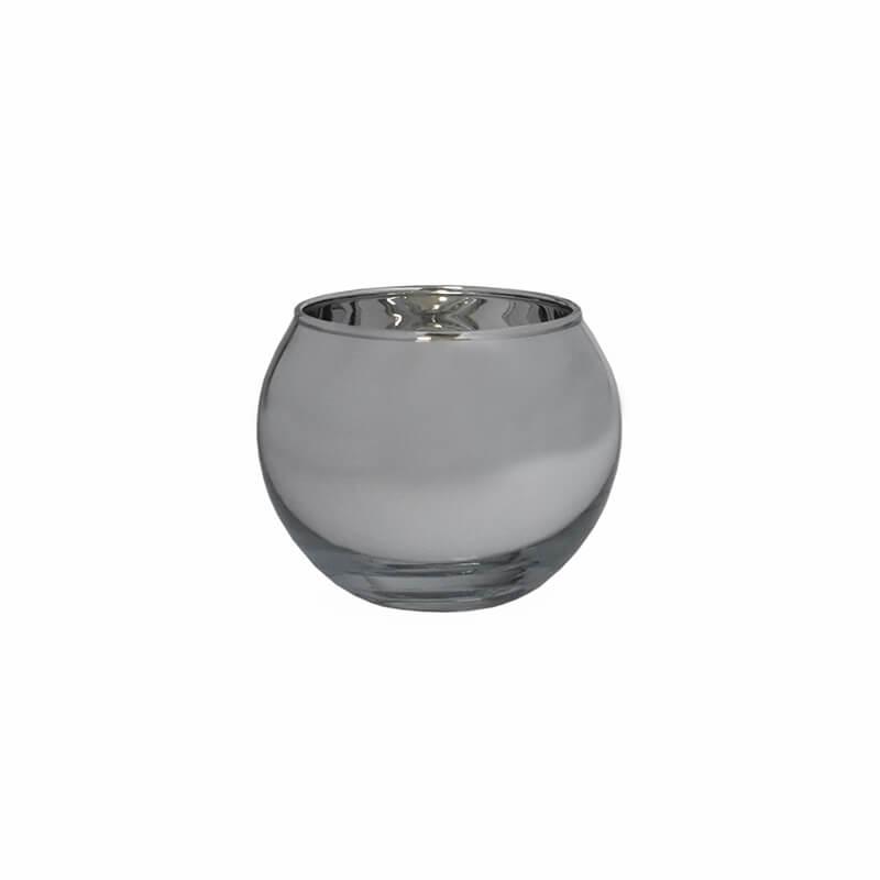 Vasinho Espelhado Prata Lumen Ball 5,5 Cm