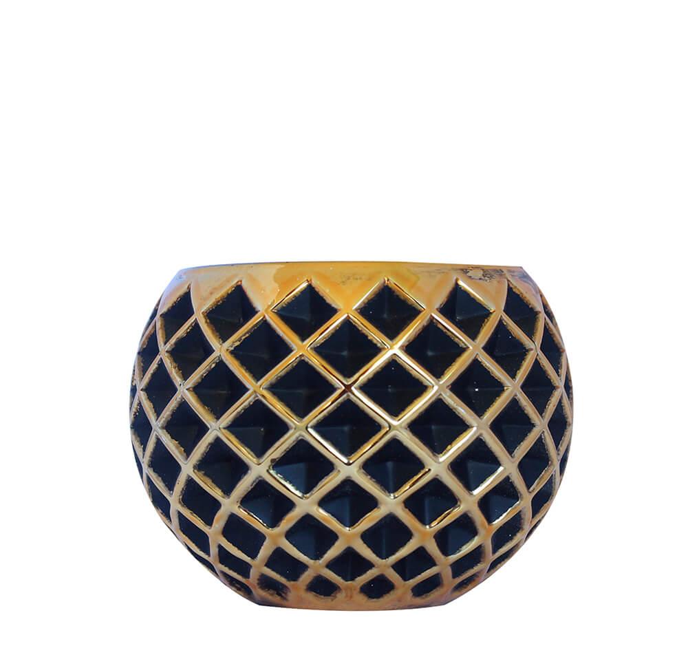 Vasinho Preto e Dourado Lumen Pigna 10 Cm