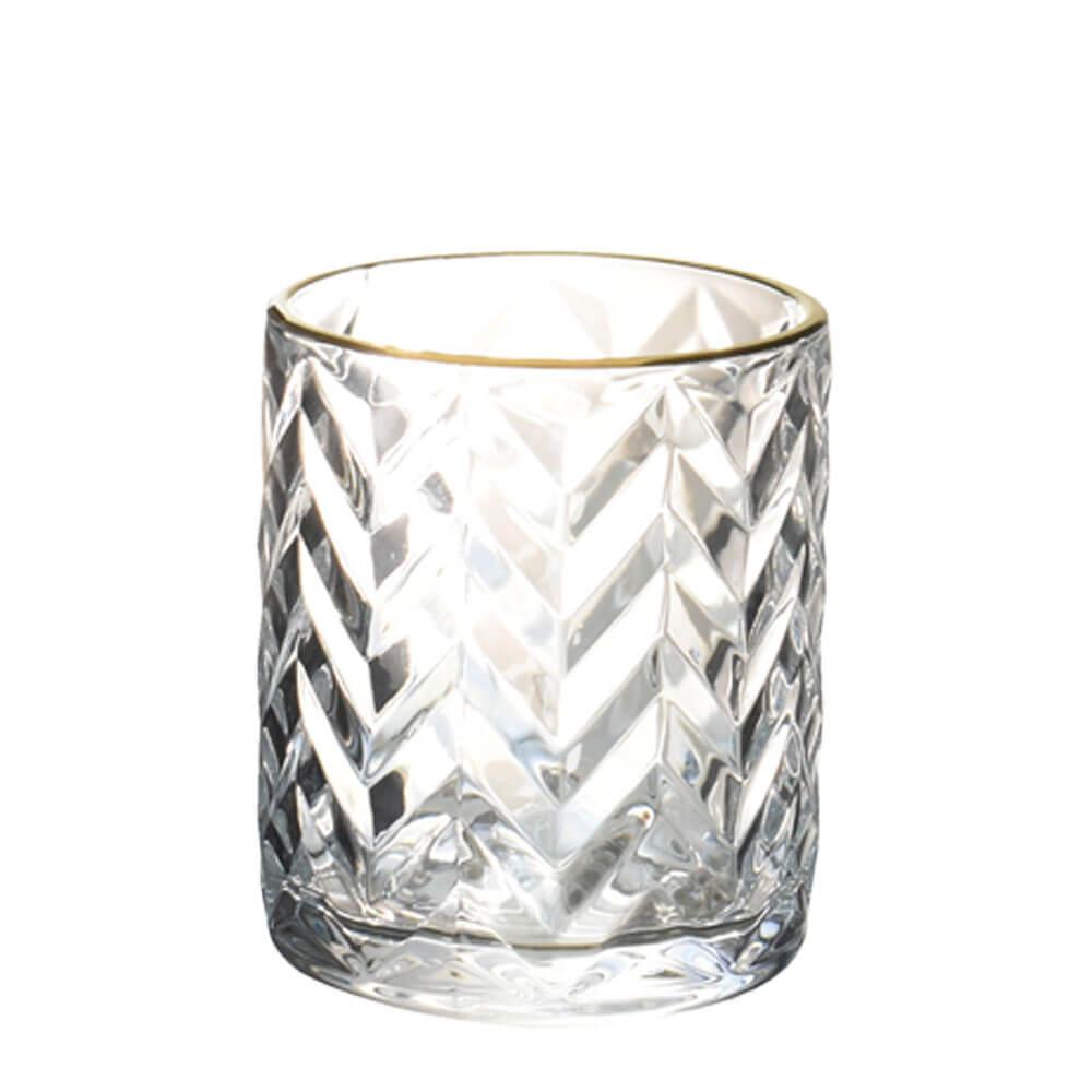 Vasinho Transparente e Dourado Lumen Chevron P 10 Cm