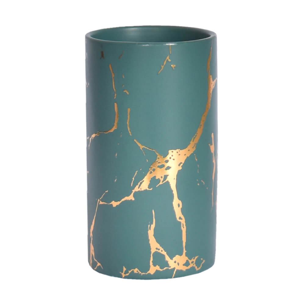 Vasinho Verde e Dourado Marmorizado Lacron G 14 Cm