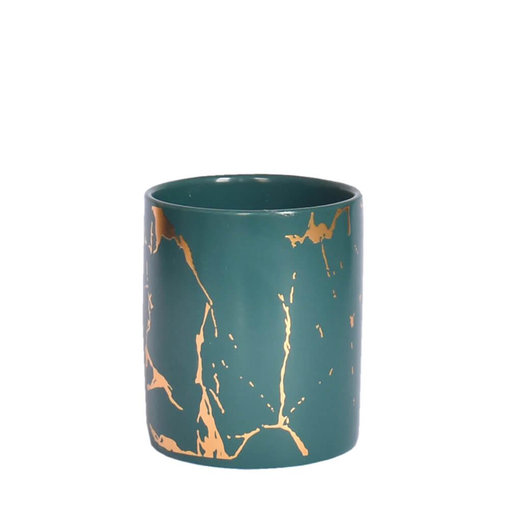 Vasinho Verde e Dourado Marmorizado Lacron P 9,5 Cm