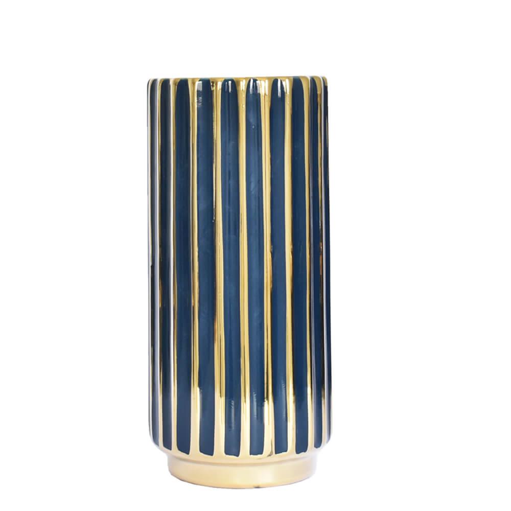 Vaso Azul e Dourado Stigmo G 27,5 Cm