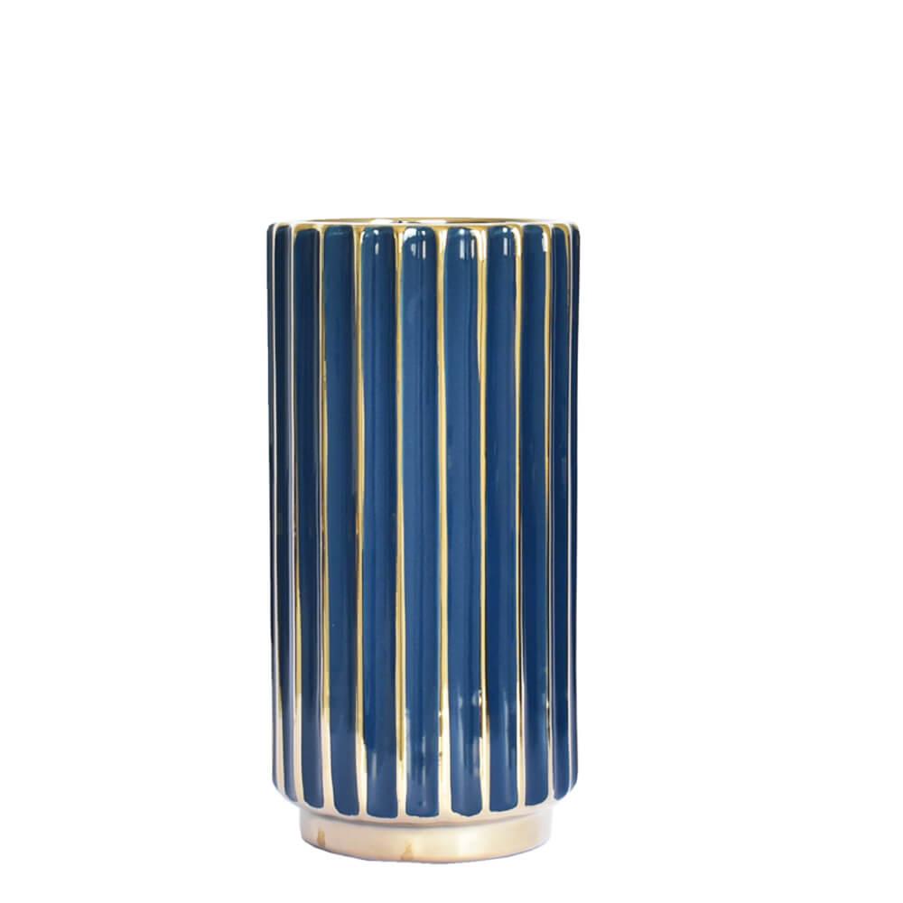 Vaso Azul e Dourado Stigmo M 24,5 Cm