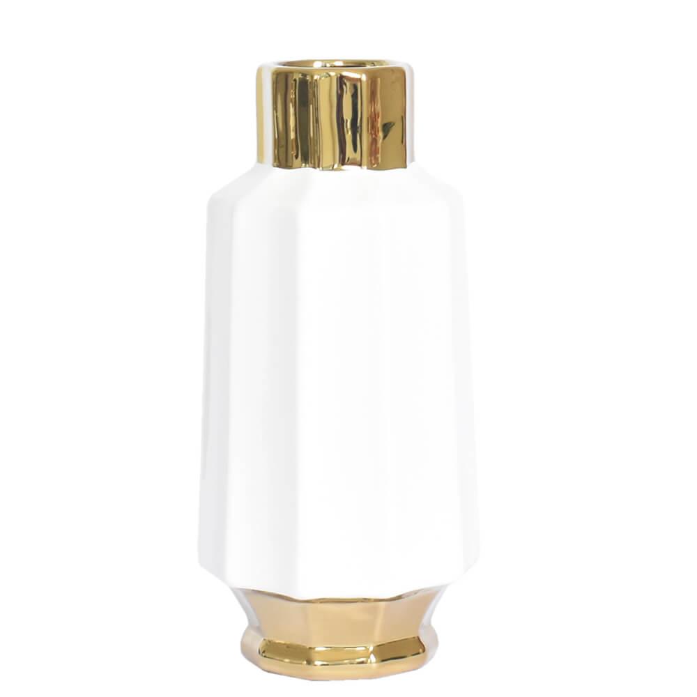 Vaso Branco e Dourado Flint G 23 Cm