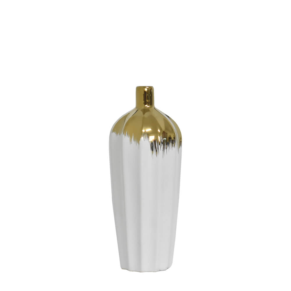 Vaso Branco e Dourado Maggie P 25 Cm