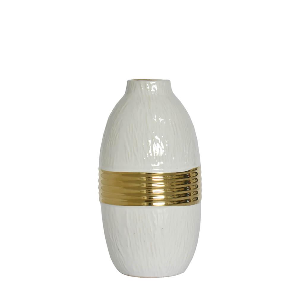 Vaso Branco e Dourado Orion P 21 Cm
