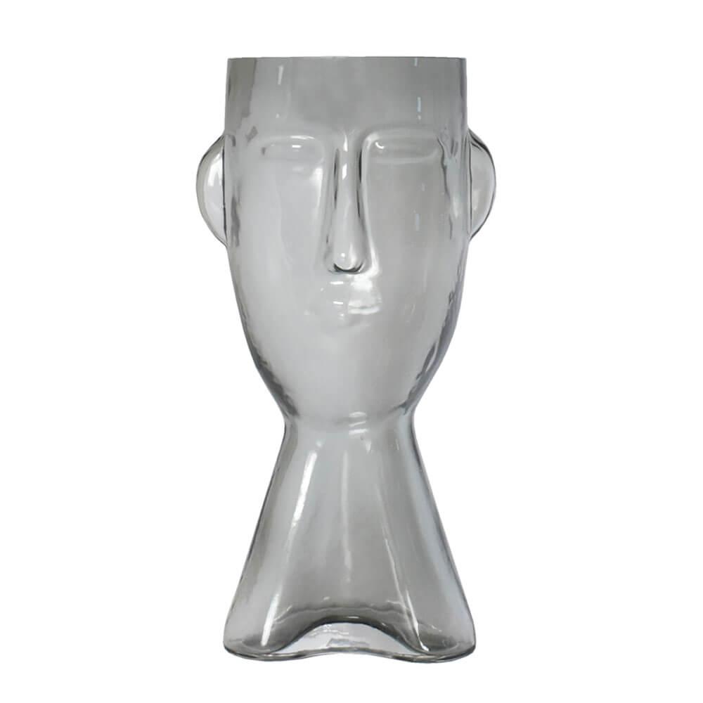Vaso Cinza Rosto G 32 Cm