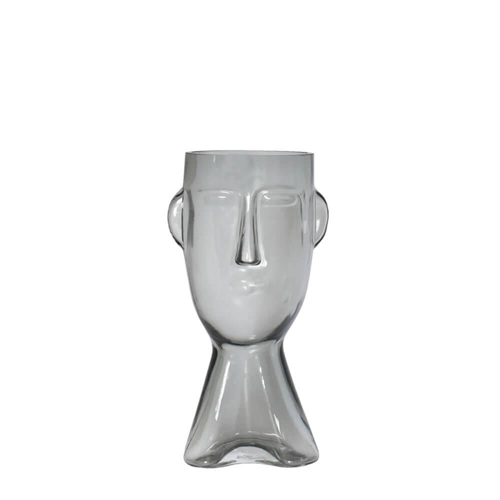 Vaso Cinza Rosto P 23,5 Cm