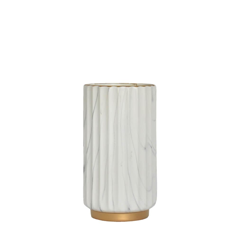 Vaso Marmorizado Branco e Dourado Bruma P 21 Cm