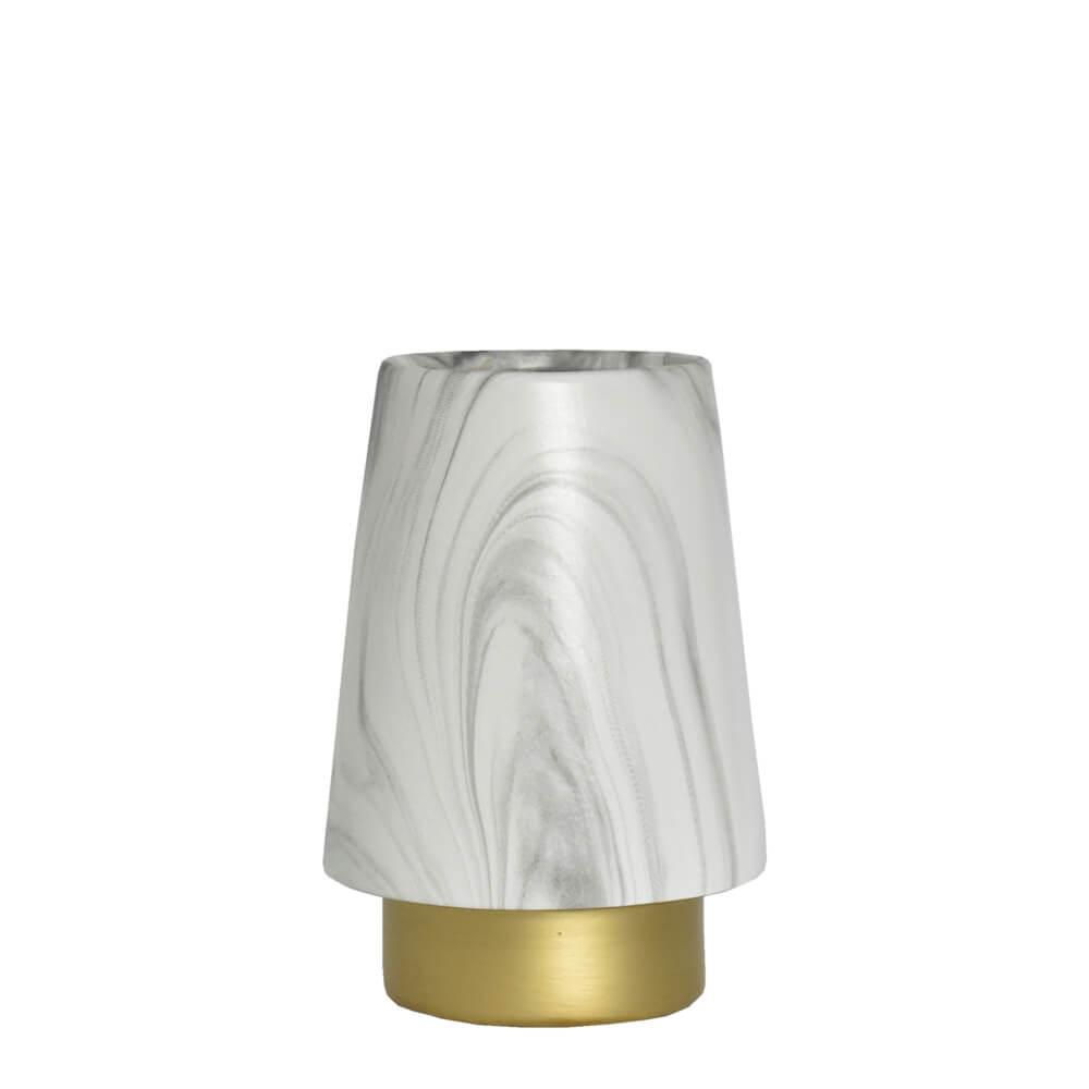 Vaso Marmorizado Branco e Dourado Weiss P 18 Cm