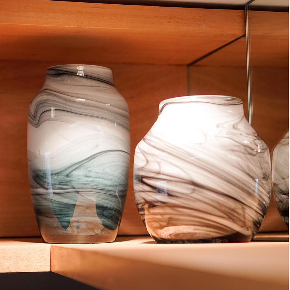 Vaso Marmorizado Preto e Branco Linx G 25 Cm