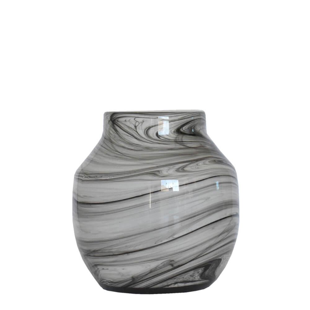 Vaso Marmorizado Preto e Branco Linx P 19 Cm