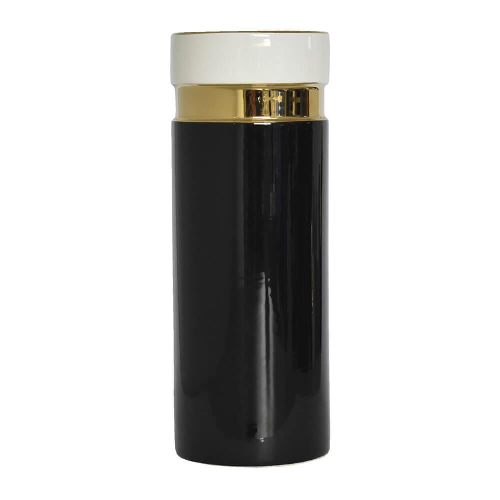Vaso Preto e Branco Casaglia G 32 Cm