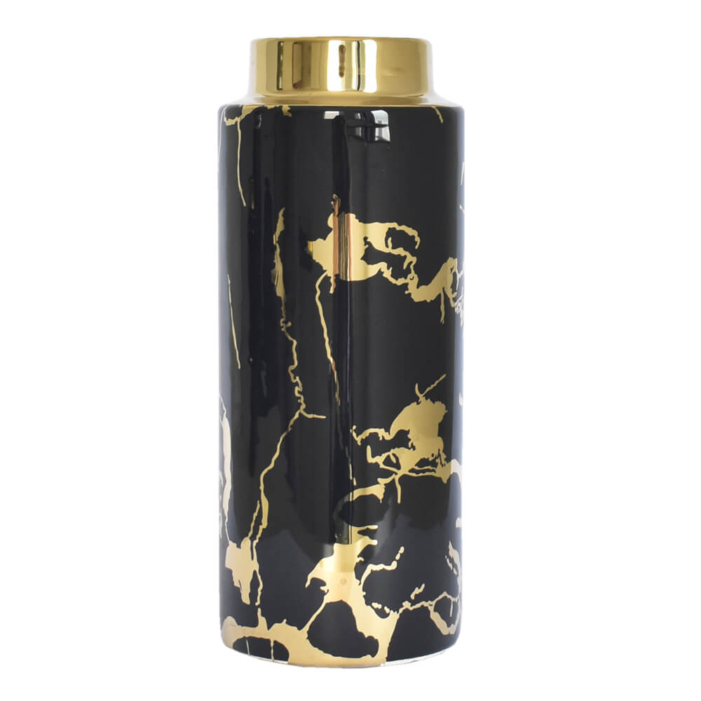 Vaso Preto e Dourado Wonder G 29,5 Cm
