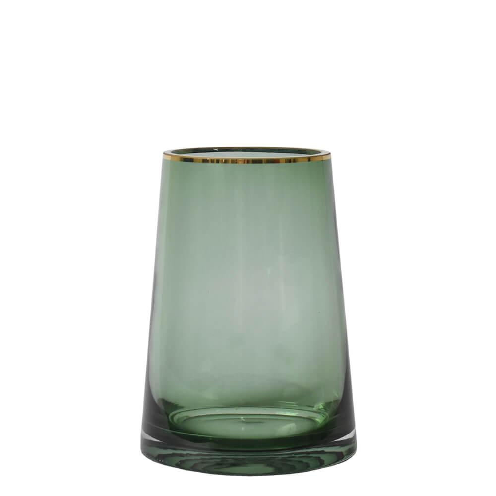 Vaso Verde e Dourado Zimbri P 20 Cm