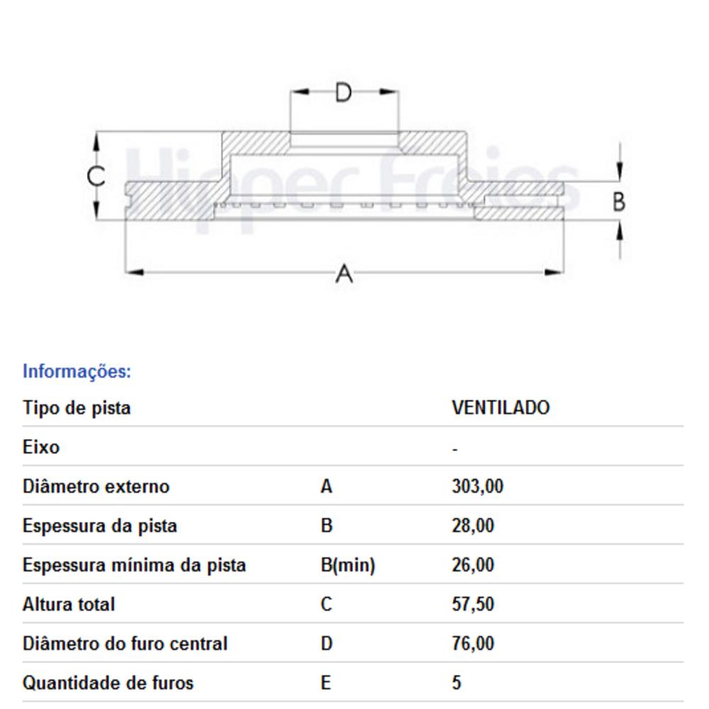 DISCO FREIO DIANT. VENTILADO AMAROK 2.0 HF90 HIPPER FREIOS
