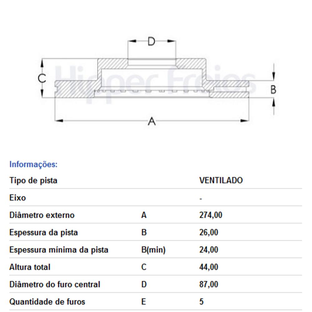 DISCO FREIO DIANTEIRO VENTILADO H1 2.5 HR 2.5 HF330