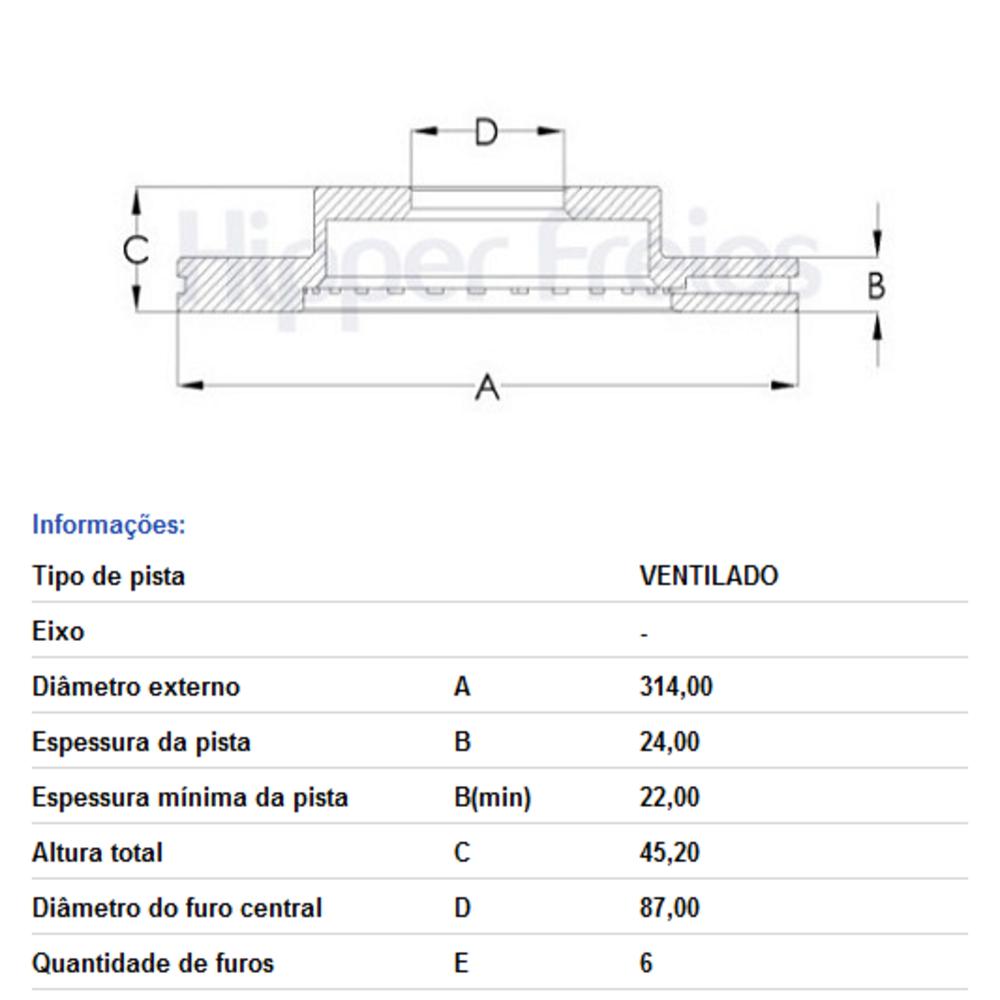 DISCO FREIO DIANT VENT L200 2.5 PAJERO HF200B HIPPER FREIOS