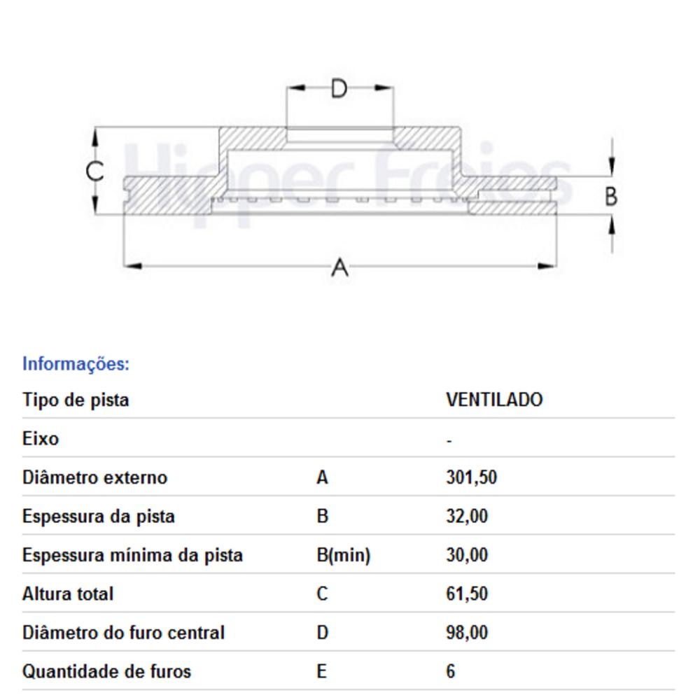 DISCO FREIO DIANT VENTIL NOVA RANGER HF16R HIPPER FREIOS