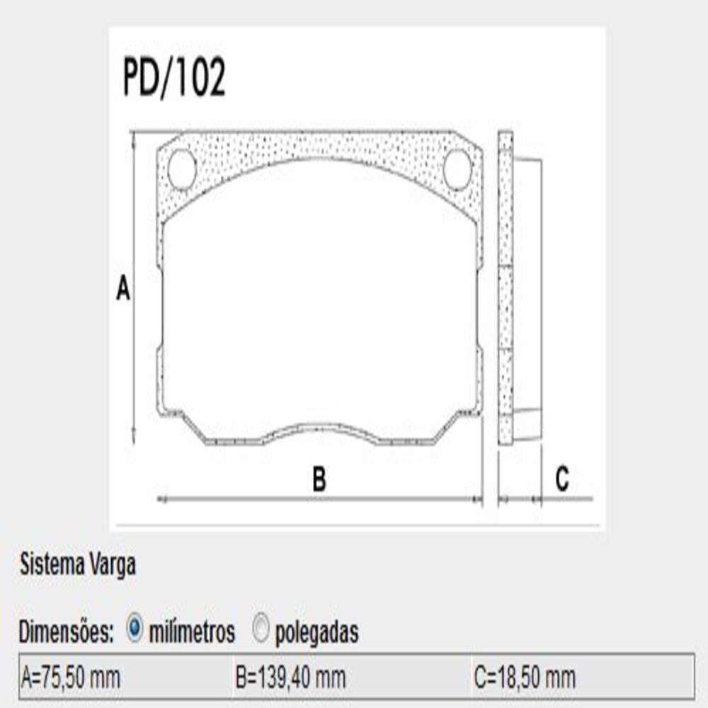 JOGO PASTILHA FREIO DIANTEIRA F4000 85/98 P102 LONAFLEX