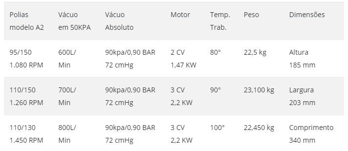 BOMBA DE VACUO BVT 02 600 LTS COM SURDINA E POLIAS 95/150
