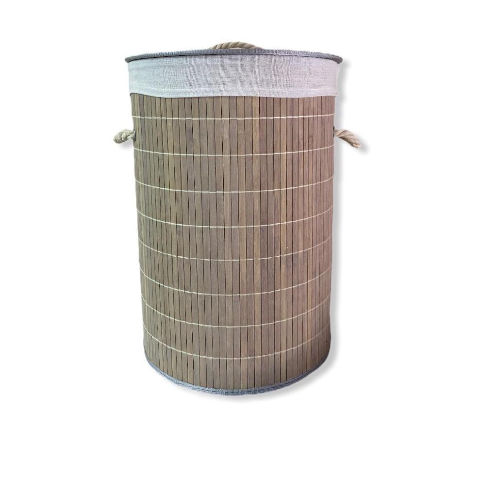 Cesto de Bambu com Tampa Redondo 45 x 50 cm