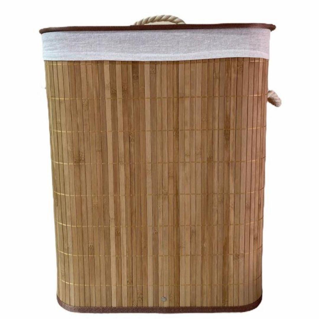 Cesto de Bambu Retangular com Tampa 30x40x50cm