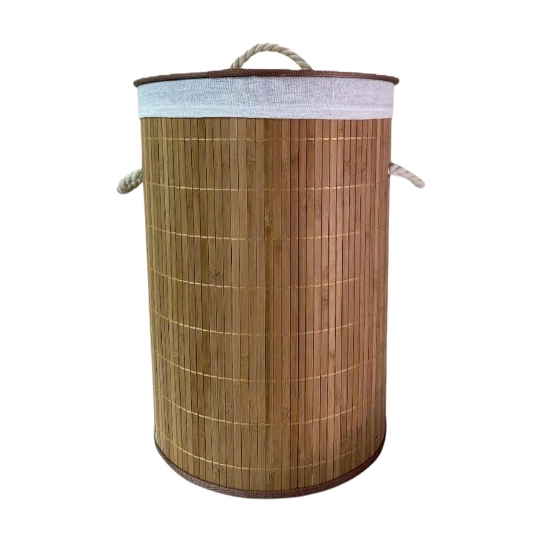 Cesto de Bambu Redondo com Tampa 45x50 cm