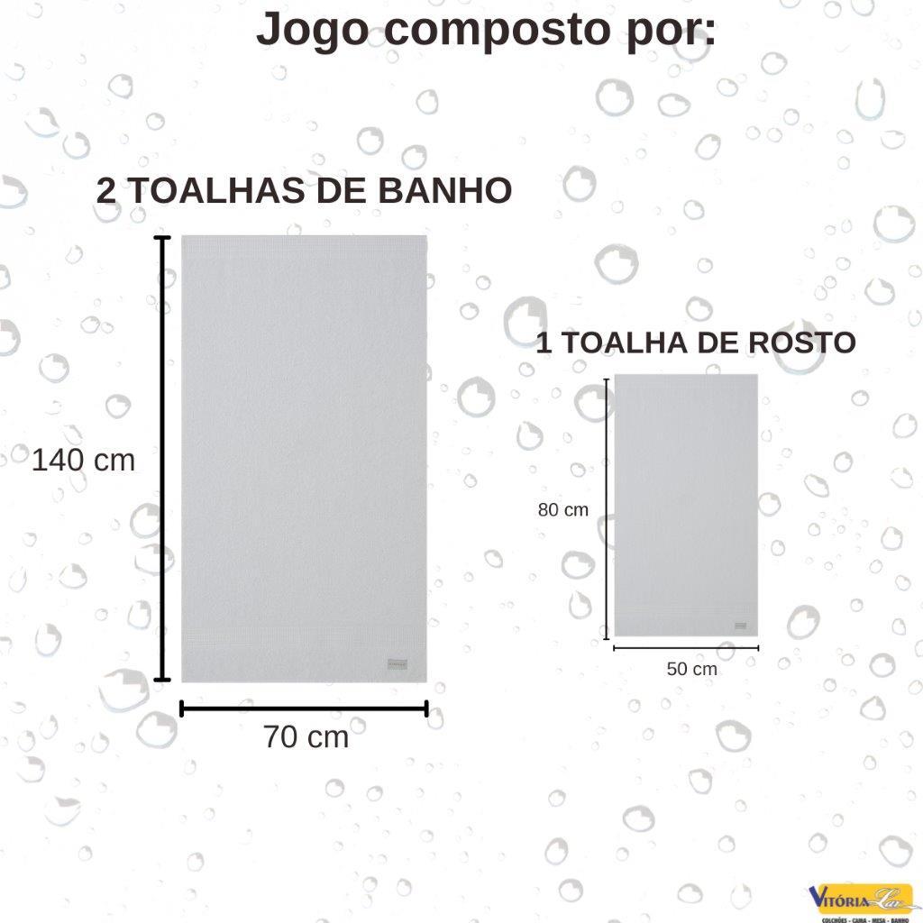 Jogo de Toalhas 100% Algodão 3 peças Brent Banho e Rosto Corttex Acabamento Premium