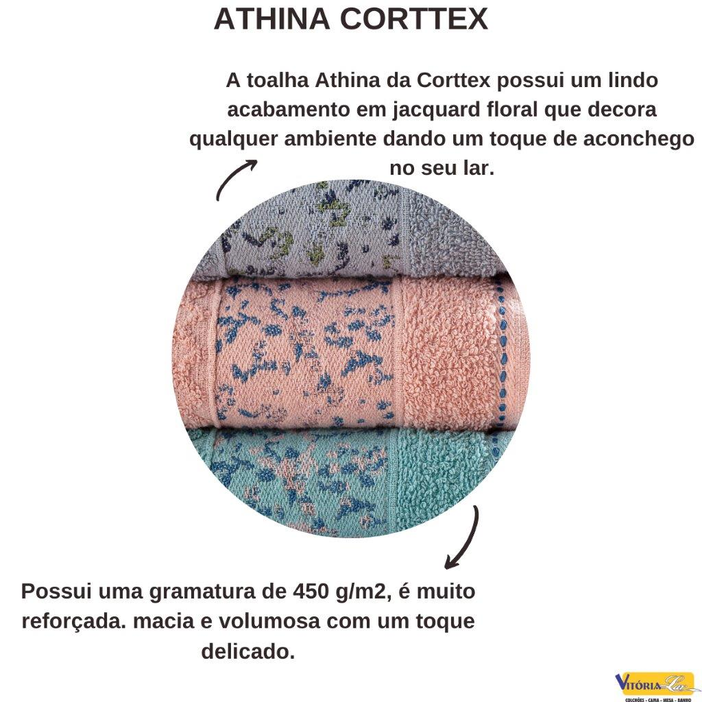Jogo de Toalhas 3 peças Athina Banho e Rosto Corttex 100% Algodão