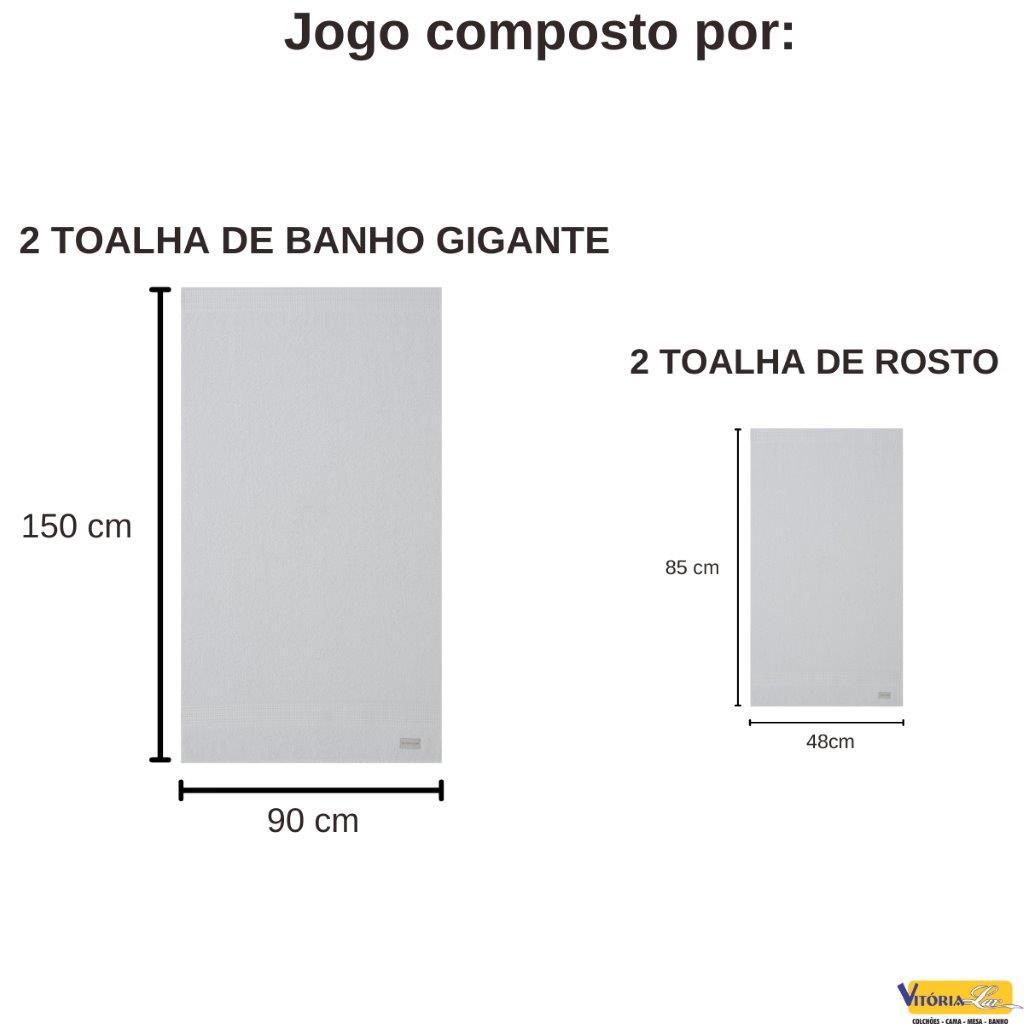 Jogo de Toalhas 4 peças Fio Penteado Canelado Banho Gigante E Rosto Buddemeyer 100% Algodão