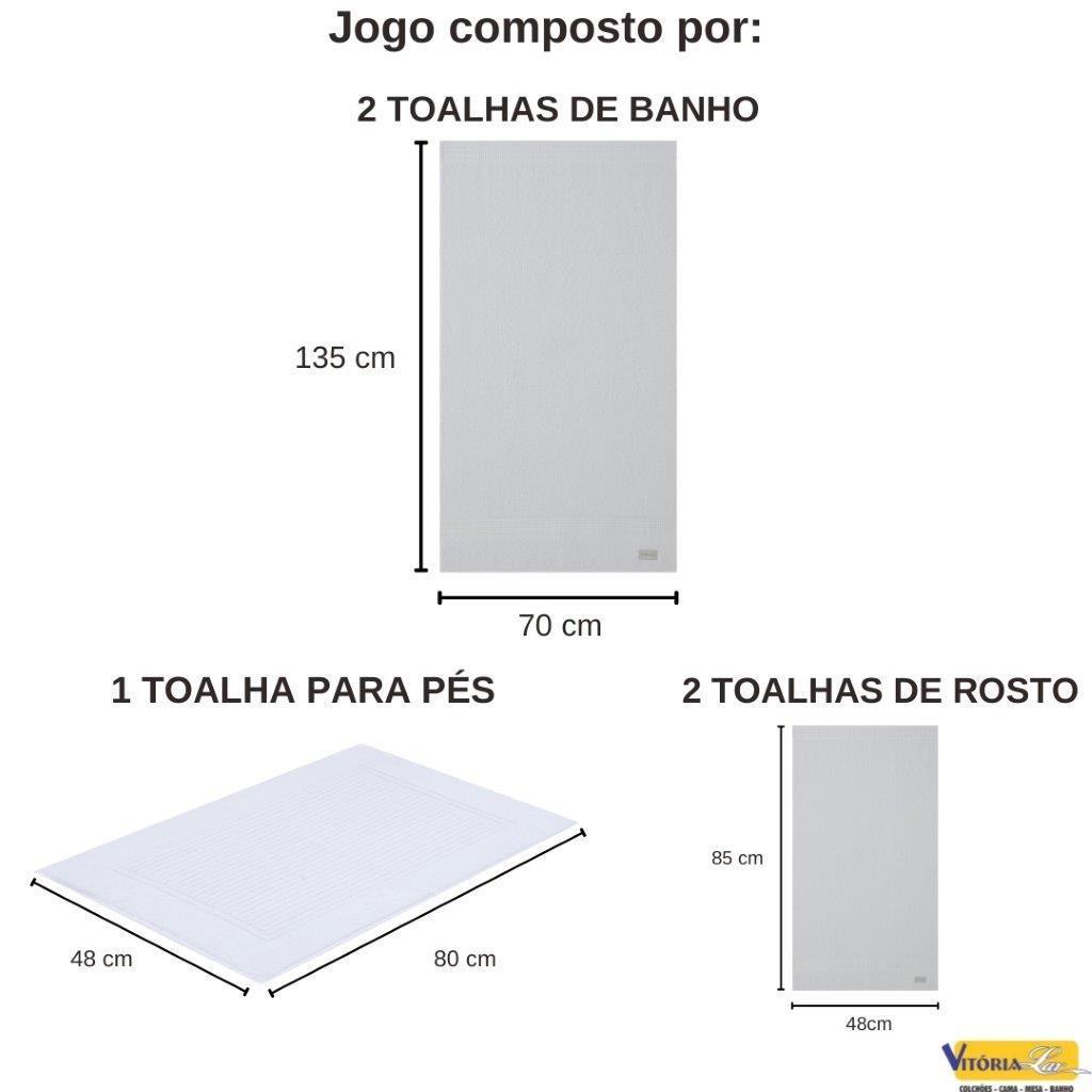 Jogo de Toalhas 5 peças Lollipop Banho Rosto Piso Buddemeyer 100% Algodão Macio E Barra Decorada