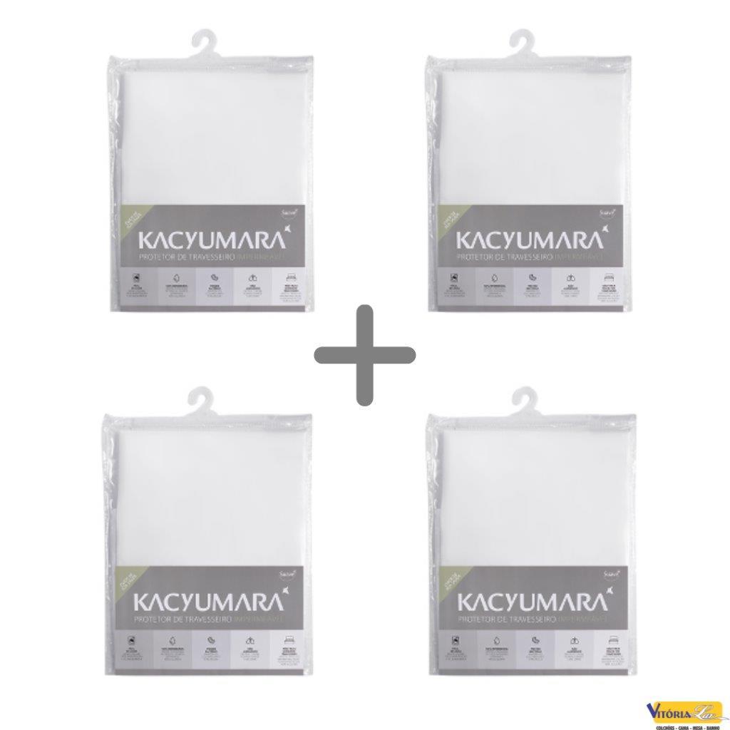 Kit 4 Unidades Protetor de Travesseiro Malha Impermeável Kacyumara Previne Bactérias Antiácaro