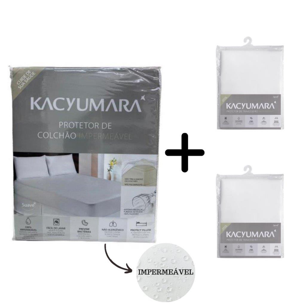 Kit Protetor Colchão 100% Impermeável Queen e 2 Protetores de Travesseiro Kacyumara