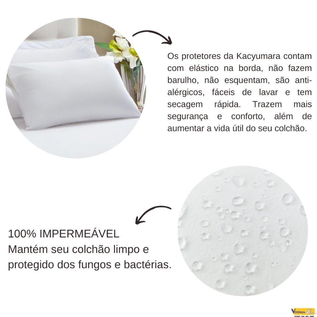 Kit Protetor Colchão Impermeável Solteiro e Protetor de Travesseiro Kacyumara Antialérgico Branco