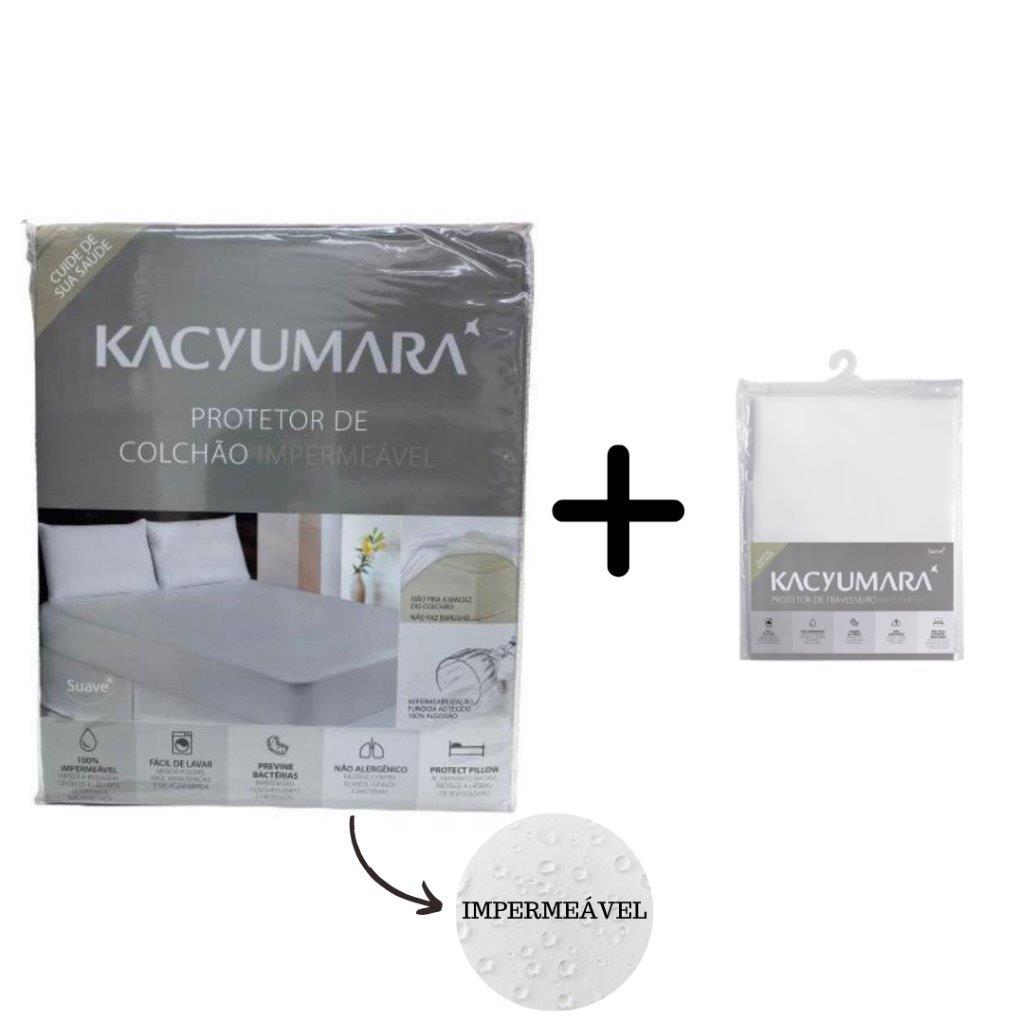 Kit Protetor Colchão Impermeável Solteiro King e 1 Protetor de Travesseiro Kacyumara Antiácaro