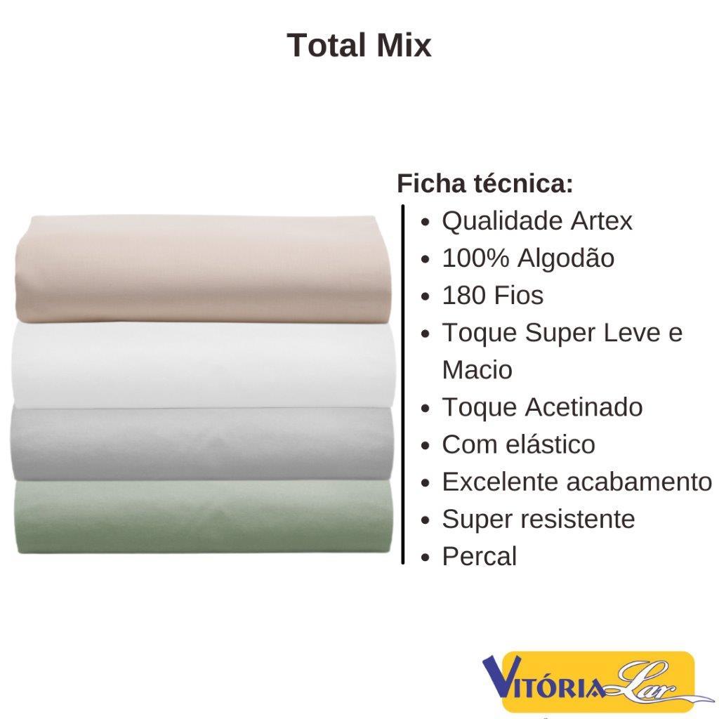 Lençol Avulso com Elástico Artex Casal Total Mix 100% Algodão Percal 180 fios