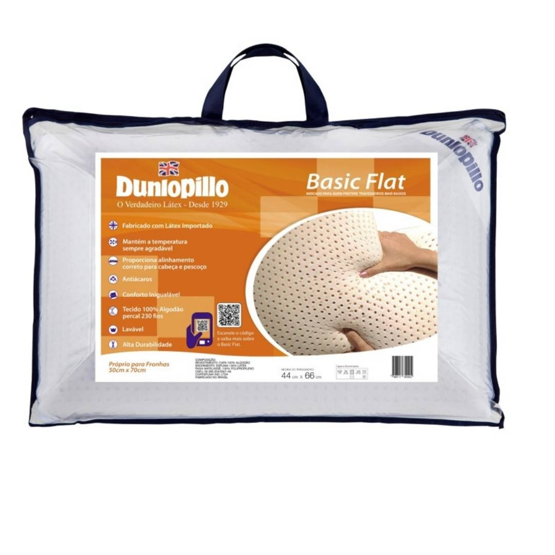 Travesseiro Basic Flat 50x70cm 100% Látex Natural Dunlopillo